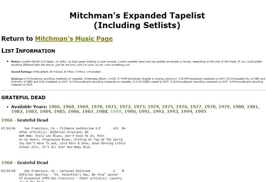 2002 Mitchman's Tape List
