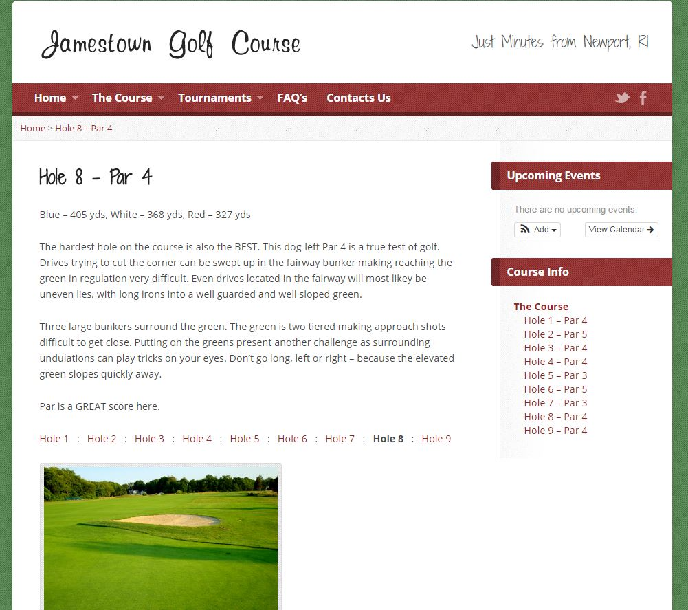 Jamestown Golf Course Holes
